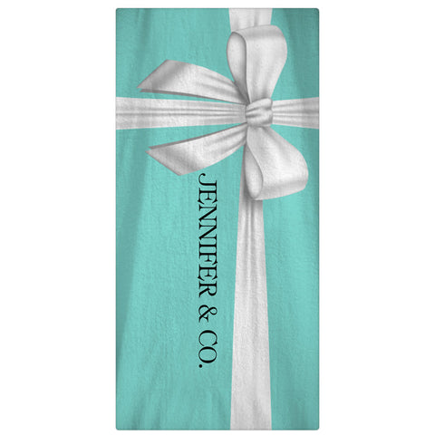 Monogrammed, Personalized Beach Towel - Tiffany Blue Box - Designs by Dee's Hands