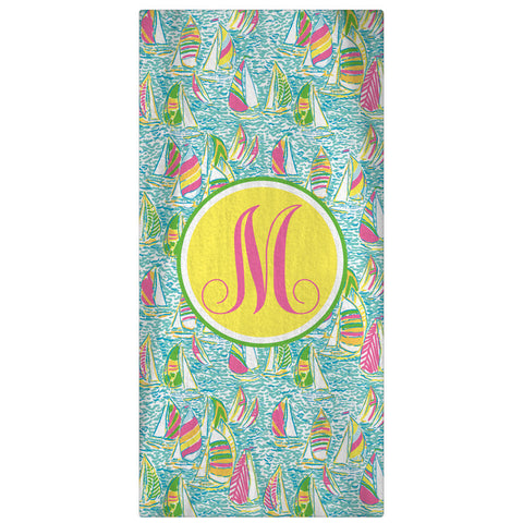 Personalized Beach Towel, Ugotta Regatta Monogrammed Towel - Designs by Dee's Hands  - 1