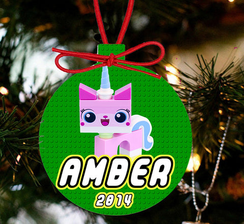 Personalized Christmas LEGO Ornament - Lego Movie Character UniKitty - Designs by Dee's Hands  - 2