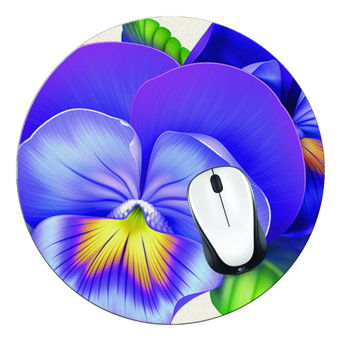 Violets Round Mouse Pad - Designs by Dee's Hands