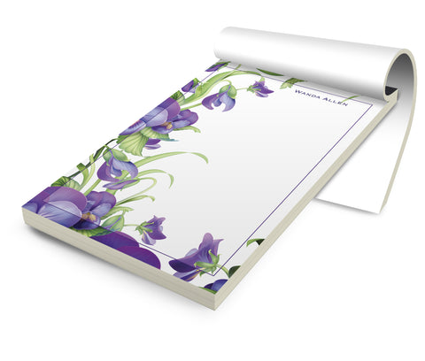 Personalized Stationery Notepad, African Violets - Designs by Dee's Hands
