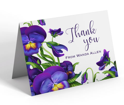 Personalized Notecard Set, Custom Printed Stationary Thank You Notes - African Violets - Designs by Dee's Hands  - 1