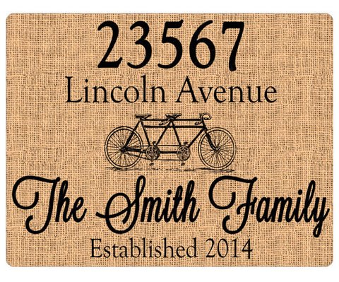 Personalized Home Address Sign Burlap Print Custom Sign - Tandum Bike - Designs by Dee's Hands