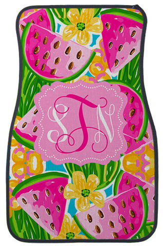 Car Mats Personalized Monogram Watermelon Cheer - Designs by Dee's Hands
