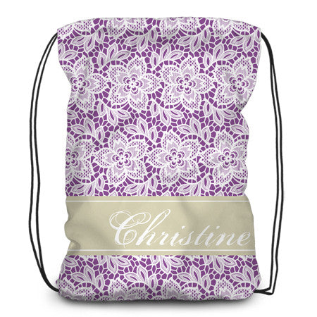 Drawstring backpack, tote - White Lace Flowers with Solid Background - Designs by Dee's Hands  - 1