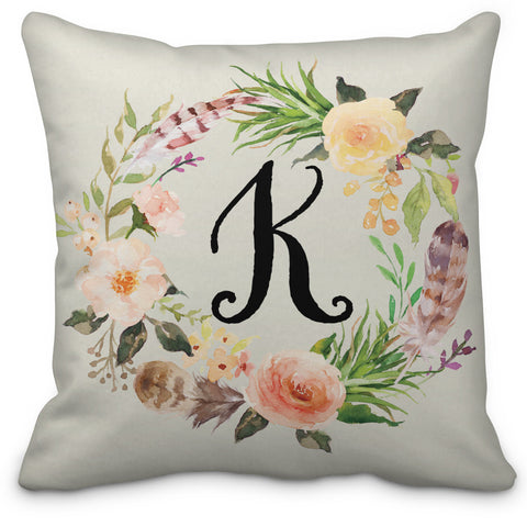 Floral & Feather Wreath Throw Pillow - Designs by Dee's Hands
