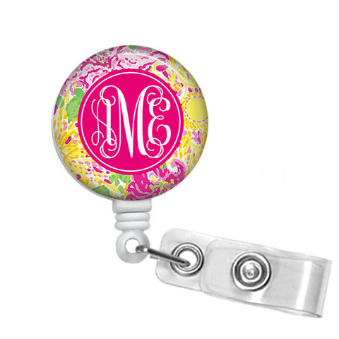 Badge Holder, Retractable Badge Reel - Written in the Sun - Designs by Dee's Hands  - 1