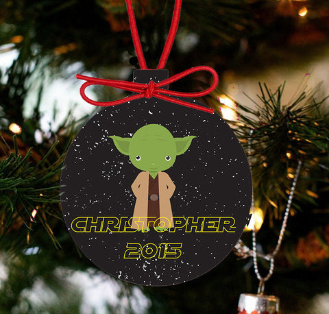 Personalized Christmas Star Wars Ornament - Yoda - Designs by Dee's Hands