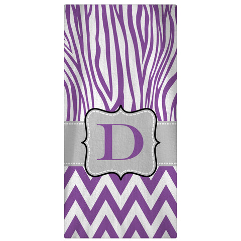 Monogrammed, Personalized Beach Towel - Zebra & Chevron - 64 Color Options - Designs by Dee's Hands  - 1