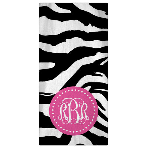 Monogrammed Beach Towel, Zebra and Color Circle Frame Personalized Towel 64 Color Options - Designs by Dee's Hands  - 1