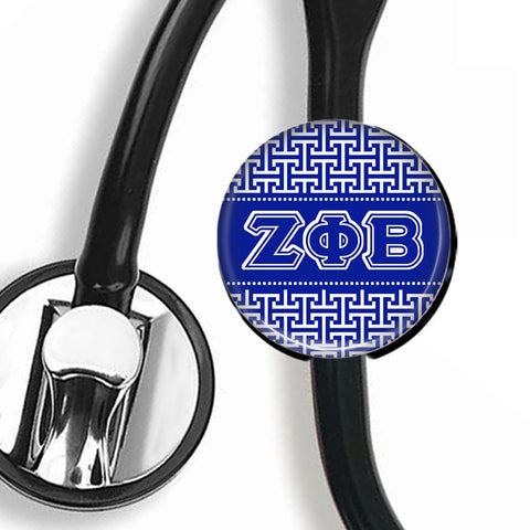 Stethoscope ID Tag - Zeta Phi Beta Greek Letters - Designs by Dee's Hands