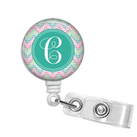 Chevron Colors Monogrammed Retractable Badge Reel - Designs by Dee's Hands  - 1