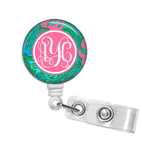 Badge Holder, Retractable Badge Reel - Lilly Lounge - Designs by Dee's Hands  - 1