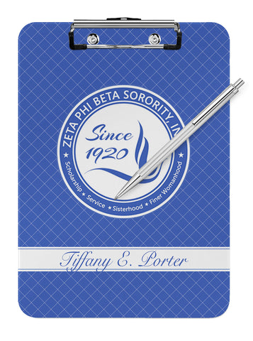 Zeta Phi Beta Personalized Dry Eraseable Clipboard - Designs by Dee's Hands