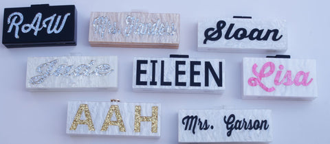Our custom your name clutches