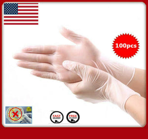 Tan 100pcs Transparent Elastic Gloves Latex Rubber Free Powder Anti Pollution