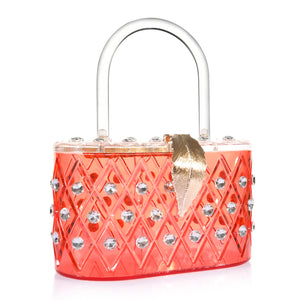 "1950 Vintage Style Coral Red ""The Passion"" Crystal Acrylic Lucite Box Top handale Clutch Bag"