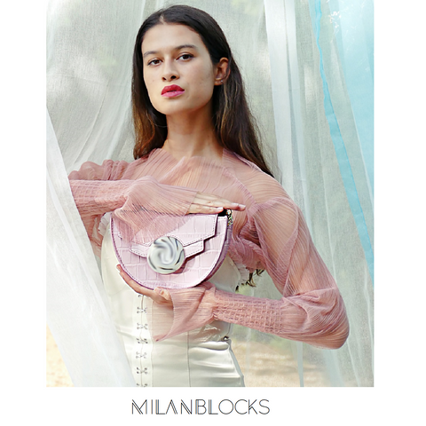 Mini Leather Saddle Bag pink Italy leather bags-Handbags & Purses - MILANBLOCKS