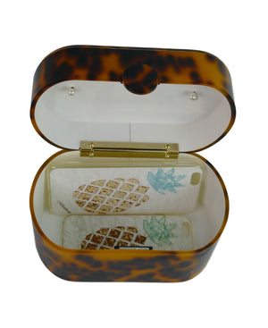 80's Vintage Tortoise Acrylic Lunch Box Clutch Bag-Apparel & Accessories > Handbags, Wallets & Cases > Handbags - MILANBLOCKS