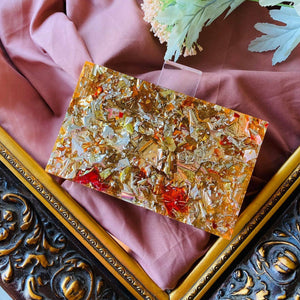 Amber Orange Confetti Acrylic Box Clutch