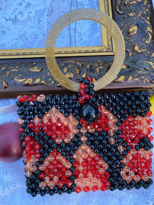 Black Red Leopard Mini Beaded Bag Beaded Handbag