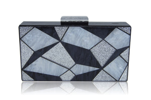 Black 3D Geometric Acrylic Box Clutch-Milanblocks-Handbags & Purses - MILANBLOCKS