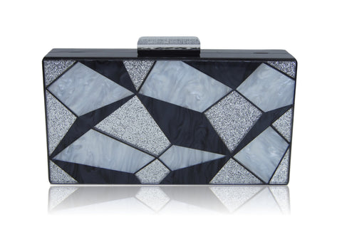 Black 3D Geometrie Acrylic Box Clutch-Milanblocks-Handbags & Purses - MILANBLOCKS