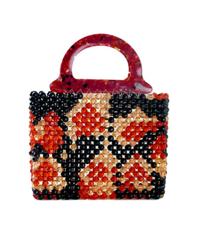 Black Red Leopard Mini Beaded Bag