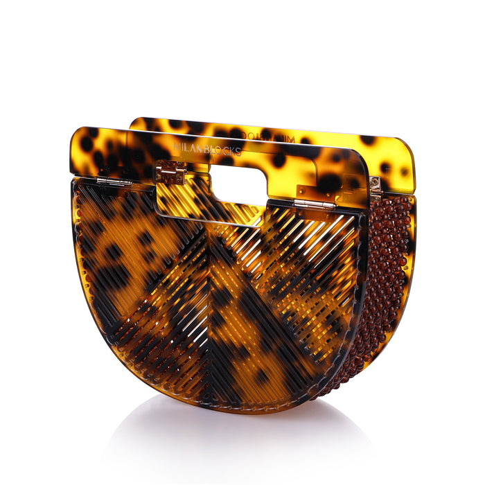 Cheetah Ark Bamboo Acrylic Clutch