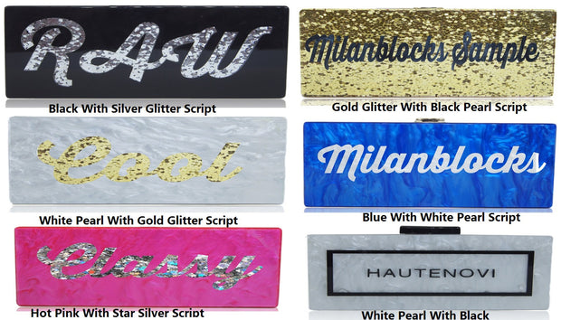 Custom Nameplate Lucite Acrylic Box Clutch Purses-Large Size-Handbags & Purses - MILANBLOCKS