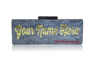Large size live review custom acrylic name clutch-Handbags & Purses - MILANBLOCKS