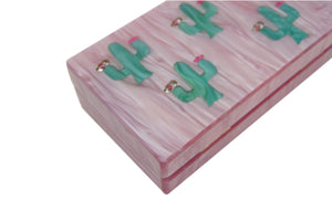 Pink and Green Cactus Acrylic Box Clutch-Handbags & Purses - MILANBLOCKS