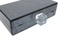 Metallic Charcoal Acrylic Box Clutch-Handbags & Purses - MILANBLOCKS