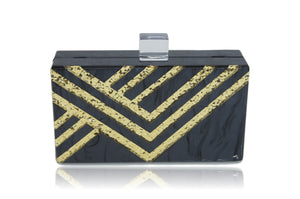 Black Gold Strip Acrylic Box Clutch-Handbags & Purses - MILANBLOCKS