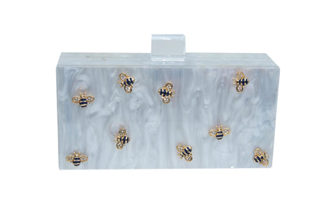 Bee Acrylic Box Clutch-Handbags & Purses - MILANBLOCKS