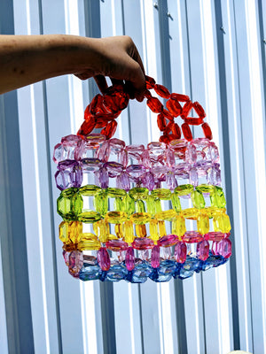 Diamond Cut Rainbow Bead Handbag