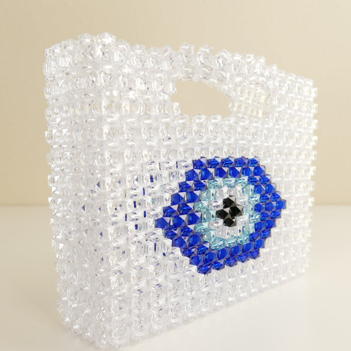 Evil Eye Beaded Purse Vintage 1960's  Bead Clutch Handbag