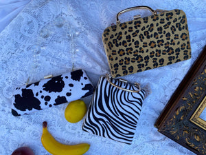 Faux fur cow print leopard box handbag clutches