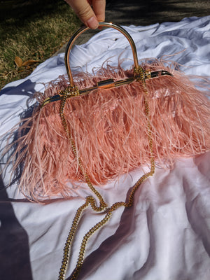 Pink feather box clutch handbag-Handbags - MILANBLOCKS