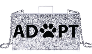 Acrylic Silver Glitter Animal Print PAW Clutch Bag