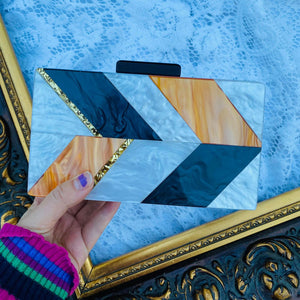 Geometric Mother of Pearl Acrylic clutch