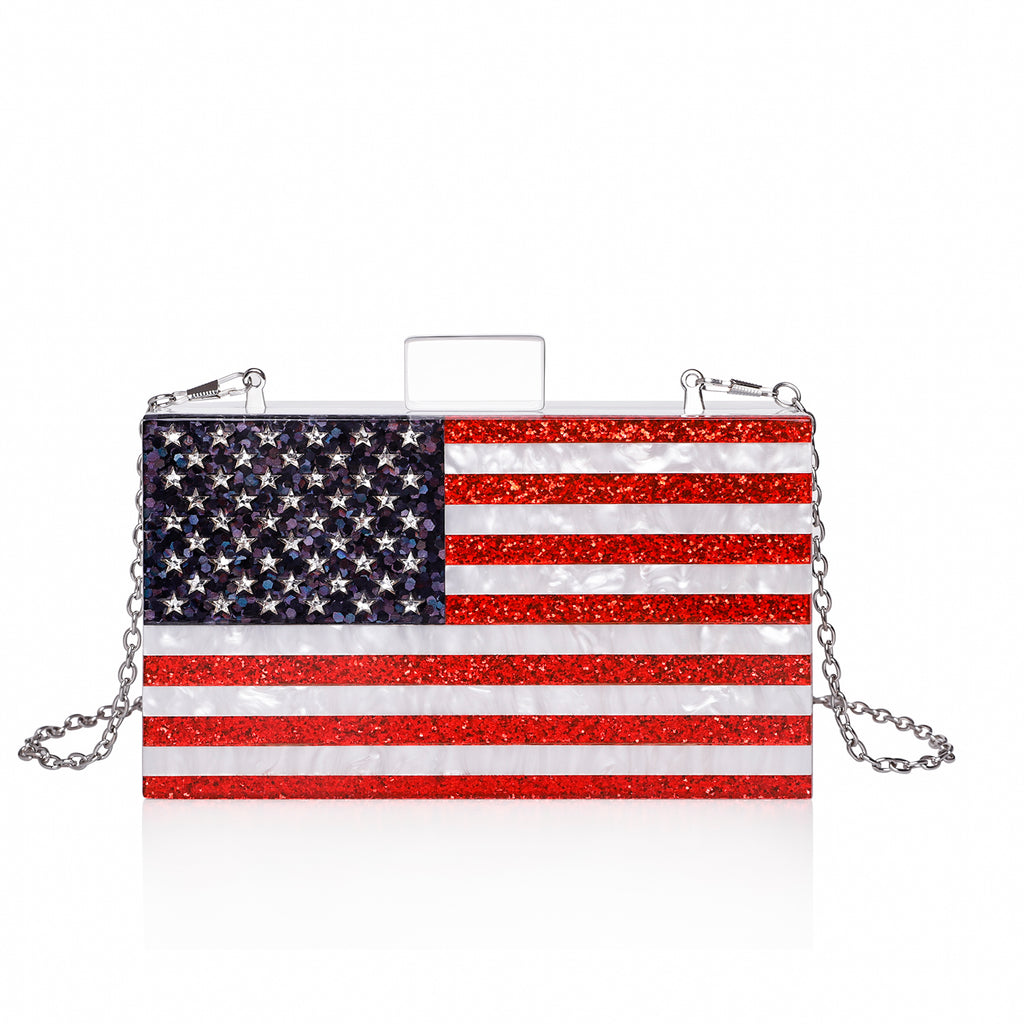 Glitter American Flag White Pearl Clutch Purse-Handbags & Purses - MILANBLOCKS