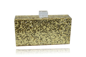 Gold Glitter Acrylic Clutch-Handbags & Purses - MILANBLOCKS