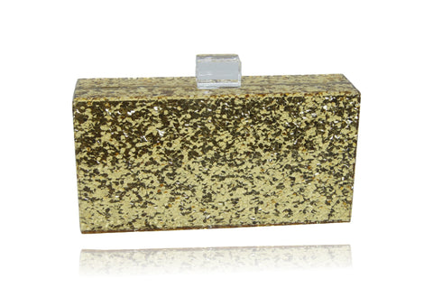 Gold Glitter Birde Acrylic Clutch-Handbags & Purses - MILANBLOCKS