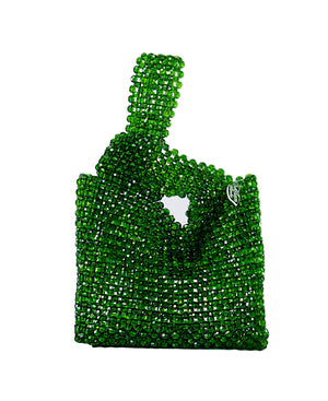 Green Beaded Shopping Bag Designer Vitnage Purse