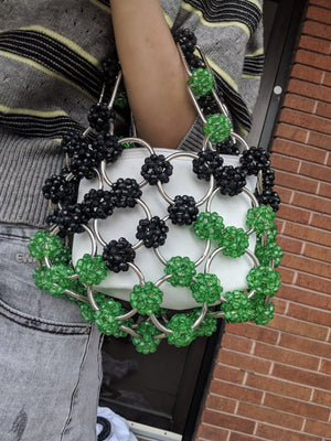Green and Black Vintage Style Circle Beaded Purse-Handbags & Purses - MILANBLOCKS