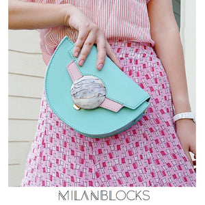 Ice Cream Green Leather Saddle Bag, Shoulder Bag, box bag, crossbody leather clutch bag-Handbags & Purses - MILANBLOCKS