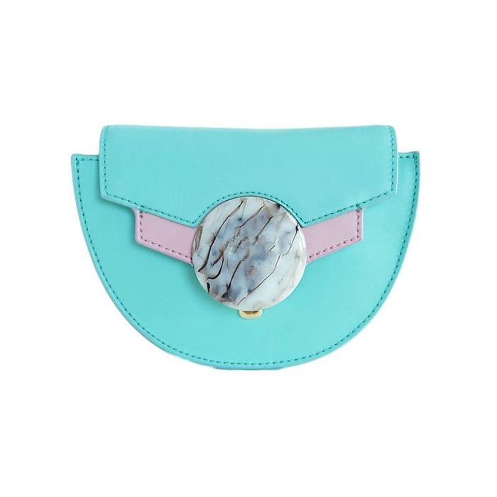 Ice Cream Green Leather Saddle Bag, Shoulder Bag, box bag, crossbody leather clutch bag
