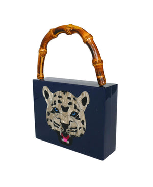 Bamboo Handle Indigo Wildcat Acrylic Box Clutch-Handbags & Purses - MILANBLOCKS