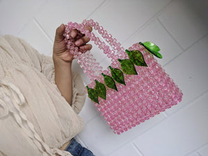 Leaf Embellished Mini Pink Beaded Bag-Handbags & Purses - MILANBLOCKS